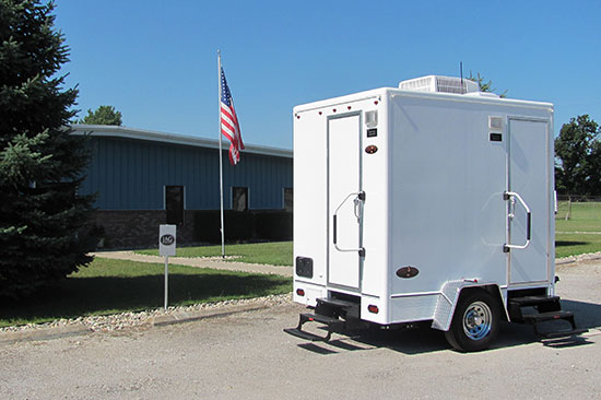 Portable restroom trailers jays septic for Portable bathroom trailers